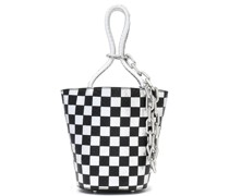 Checked Snake-effect Leather Bucket Bag