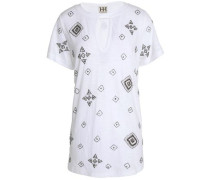 Cutout embellished cotton-jersey T-shirt