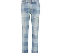 The Fling plaid low-rise boyfriend jeans