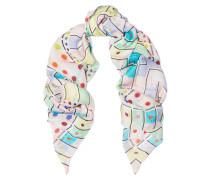 Printed Silk Crepe De Chine Scarf Mehrfarbig