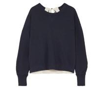 Sweatshirt aus Baumwollfrottee mit Cut-outs und Ripsbandbesatz