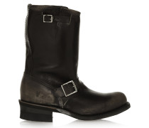 Engineer Distressed Leather Boots Black