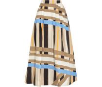 Pleated Printed Cotton-poplin Maxi Skirt Beige