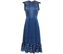 Ruffle-trimmed Polka-dot Silk-satin Midi Dress