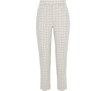 Woman Poppy Cropped Checked Wool-blend Twill Straight-leg Pants Ivory