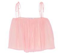 Taura Ruffled Silk-chiffon Top Pink