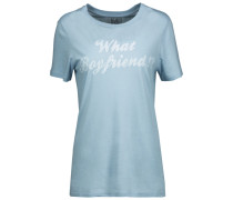 Printed Stretch Cotton And Modal-blend T-shirt Hellblau