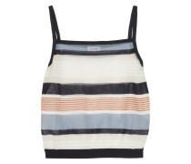 Cropped Striped Cotton-blend Tank Elfenbein