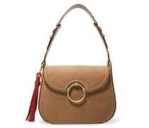 Tasseled Leather Shoulder Bag Braun