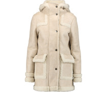 Faux Brushed-suede And Shearling Hooded Coat Elfenbein