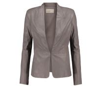 Ribbed Knit-paneled Leather Jacket Champignon