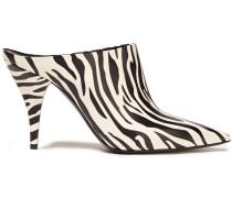 Zebra-print Leather Mules