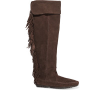 Fringed Suede Knee Boots Dunkelbraun