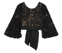 Cropped embellished guipure lace top