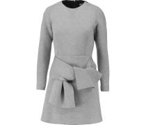 Tie-front Stretch-scuba Mini Dress Hellgrau