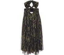 Junon Metallic Fil Coupé Silk-blend Chiffon Halterneck Mini Dress