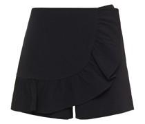 Shorts aus Crêpe mit Wickeleffekt und Rüschen