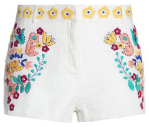 Embroidered woven cotton shorts