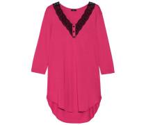 Perugia Lace-trimmed Pima Cotton And Modal-blend Nightdress Fuchsia