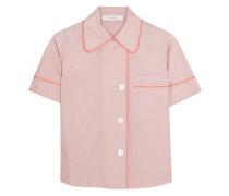 Shelby silk chiffon-trimmed cotton-poplin pajama top