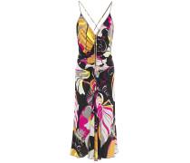 Crystal-embellished Ruched Printed Silk-jersey Slip Dress