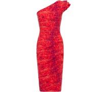 Civia Bedrucktes Kleid aus Scuba mit Rüschen, Wickeleffekt und Asymmetrischer Schulterpartie