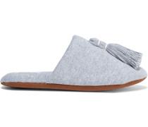 Vara Tasseled Cotton-blend Slippers