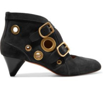 Leather-trimmed stud-embellished suede ankle boots