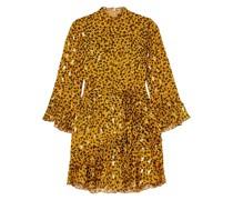 + Venyx Marisa Minikleid aus Chiffon aus Einer Seidenmischung mit Fil Coupé und Leopardenprint