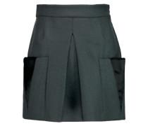 Calf Hair-paneled Wool Mini Skirt Schiefer