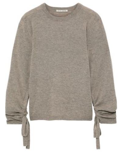 Ruched Mélange Cashmere Sweater Mushroom