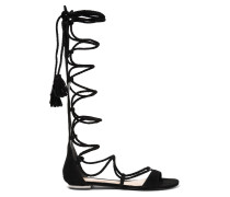 Gloria Lace-up Suede Sandals Schwarz