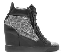 Embellished Leather Wedge Sneakers Schwarz