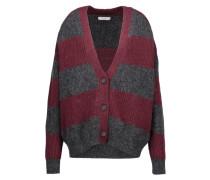 Stuart Oversized Striped Ribbed-knit Cardigan Burgunder
