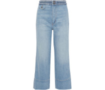 The Braided Camp Cropped High-rise Wide-leg Jeans