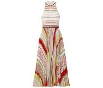 Pleated Striped Metallic Crochet-knit Midi Dress
