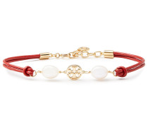 Woman Gold-tone, Leather, Freshwater Pearl And Moonstone Bracelet Red