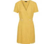 Tabitha Textured-twill Mini Wrap Dress
