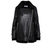 Adele Faux Shearling-trimmed Leather Jacket