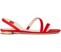 Slingback-sandalen aus Veloursleder mit Kunstperlen