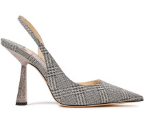 Fetto 100 Glittered Prince Of Wales Checked Leather Slingback Pumps