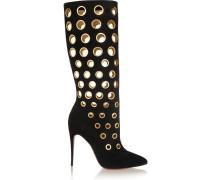 100 Eyelet-embellished Suede Knee Boots