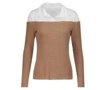Two-tone cotton-blend paneled jersey sweater