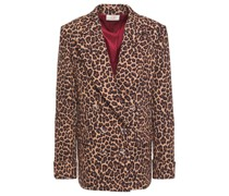 Double-breasted Leopard-print Crepe Blazer