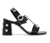 Studded Patent-leather Sandals Schwarz