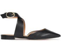 Leather Point-toe Flats Black