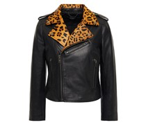 Cropped Printed Calf Hair-trimmed Leather Biker Jacket