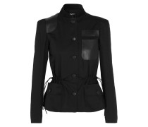 Suede And Textured Leather-trimmed Herringbone Cotton Jacket Schwarz