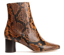 Luka Snake-effect Leather Ankle Boots Animal Print