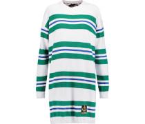 Striped Cotton Mini Dress Grün